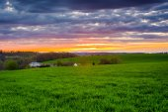 Sunset over farm fields in rural York County, Pennsylvania.  — Stock Photo