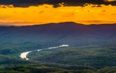 Zonsondergang over de shenandoah vallei vanaf skyline drive in shenando — Stockfoto