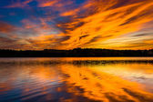 Sunset reflecting in Long Arm Reservoir, Pennsylvania.  — Stock Photo
