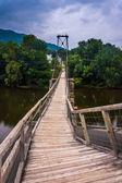 Swinging bridge in Buchanan, Virginia. — Stock Photo