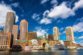 The Boston Skyline, seen from Fort Point. — Stock Photo