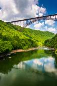 The New River Gorge Bridge, seen from Fayette Station Road, at t — Stock Photo