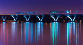 The Woodrow Wilson Bridge at night, seen from National Harbor, M — Stock Photo
