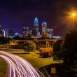 View of the Charlotte skyline from the Central Avenue Bridge, in — Stock Photo #52615881
