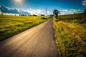 The sun setting over a country road near Cross Roads, Pennsylvan — Stockfoto