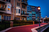 The waterfront in Canton at twilight, Baltimore, Maryland.  — Fotografia Stock