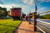 Train car outside the train station in New Oxford, Pennsylvania. — Stock Photo