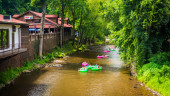 Tubers in the  Chattahoochee River, in Helen, Georgia. — Stock Photo