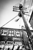 Utility pole in Graffiti Alley, Baltimore, Maryland.  — Stock Photo