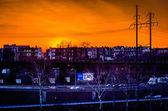 Zářivé slunce nad západní Filadelfie, Pensylvánie. — Stock fotografie