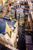 View of a church and alleys from the South Street Parking Garage — Stock Photo