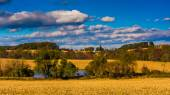 View of a pond and farm fields in rural York County, Pennsylvani — Stock Photo