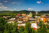 View of buildings from a parking garage in Asheville, North Caro — Stock Photo
