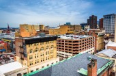 View of buildings from a parking garage in Baltimore, Maryland. — Stock Photo