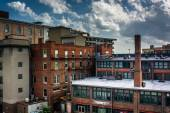 View of old buildings from a parking garage in Asheville, North  — Stock Photo