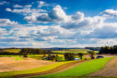 View of rolling hills and farm fields in rural Southern York Cou — Stock Photo