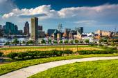 View of the Baltimore skyline and Inner Harbor from Federal Hill — Stock Photo