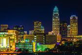 View of the Charlotte skyline at night, North Carolina.  — Foto de Stock