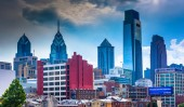 View of the Philadelphia skyline from the Reading Viaduct, Phila — Stock Photo