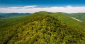 View of the Ridge and Valley Appalachians from Big Schloss, in G — Stock Photo