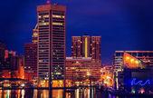 Annata elaborati immagine dello skyline baltimora di notte da f — Foto Stock