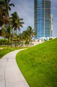 Walkway and skyscraper at South Pointe Park, Miami Beach, Florid — Stock Photo