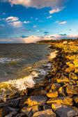 Ondas nas rochas na Baía de chesapeake, na ilha de tilghman, maryla — Fotografia Stock