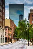 Weeping willow tree and buildings on a street in downtown Atlant — Stock Photo