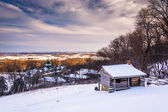 Winter view of John Hughes Cabin and Mount St. Marys University  — Stock Photo