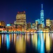 One World Trade Center and Battery Park City at night, seen from — Stock Photo #53052439