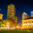 ������, ������: The Westin and Public Library at night at Copley Square in Bost