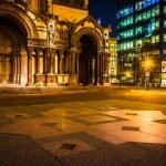 Trinity Church and the John Hancock Building at night, at Copley — Stock Photo #53056191