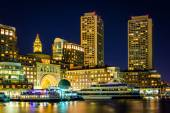 Rowes Wharf at night, seen from Fort Point, in Boston, Massachus — Stock Photo