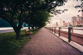 Walkway along the East River on Roosevelt Island, New York. — Stock Photo