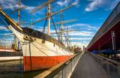 The Wavertree Sailing Ship at South Street Seaport in Manhattan, — 图库照片