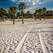 Tire tracks in the sand and palm trees on the beach in Clearwate — Stock Photo #58295489