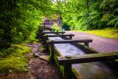 Flume and trail at Mingus Mill, Great Smoky Mountains National P — Stock Photo