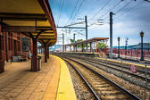Union Station and railroad tracks in New London, Connecticut. — Stock Photo