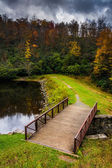 Bridge and pond at Julian Price Park, on the Blue Ridge Parkway — Stock Photo