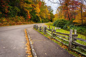 Fence and autumn color along the Blue Ridge Parkway in Julian Pr — Stock Photo