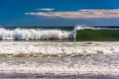 Waves in the Atlantic Ocean at Old Orchard Beach, Maine. — Stock Photo