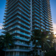 Sunset through palm trees and a skyscraper in Belle Isle, Miami — Stock Photo #58456345