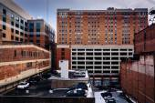View of parking garages and old buildings in Baltimore, Maryland — Stock Photo