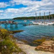 Rocky coast and view of boats in the harbor at Bar Harbor, Maine — Stock Photo #58519711