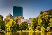 Rybník na veřejné zahrady a budov v Bostonu, Massachusetts — Stock fotografie