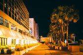 Palm trees and hotels at night, in Daytona Beach, Florida. — Stock Photo