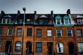 Row houses in Charles North, Baltimore, Maryland. — Foto Stock