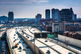 View of the Delaware Expressway from the Ben Franklin Bridge Wal — Stock Photo