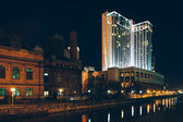 Waterfront buildings at night in Harbor East, Baltimore, Marylan — Foto de Stock