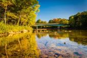 Bridge over the Saco River in Conway, New Hampshire. — Stok fotoğraf